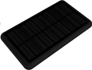 Powerbank 5000 mAh , solarno punjenje i  3 u 1 kabel tip C, sa svijetlećim logom, ,crni