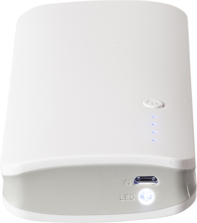 Powerbank 10000 mAh, 3 izlaza , puni 3 uređaja , LED lampica za svijetlo, bijeli