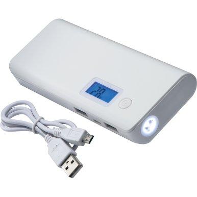 Powerbank 10000 mAh, LCD  zaslon s prikazom preostalog kapaciteta, 2 izlaza za punjenje, bijeli
