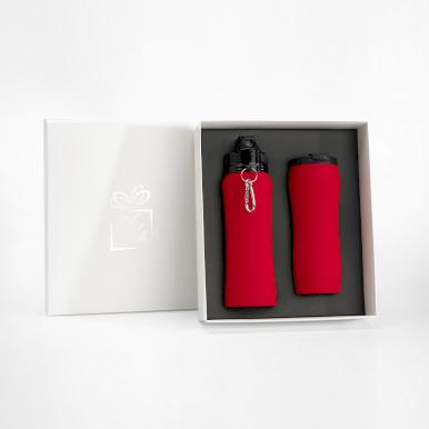 Set boca za vodu i termo šalica, crvena