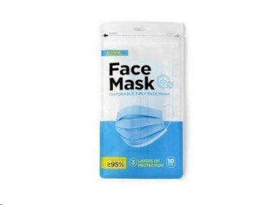 Maska za lice, troslojna, jednokratna, 10 komada u vrećici