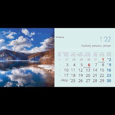 Kalendar stolni Nacionalni parkovi Hrvatske, 20,5x14,5 cm, 13 listova, koverta