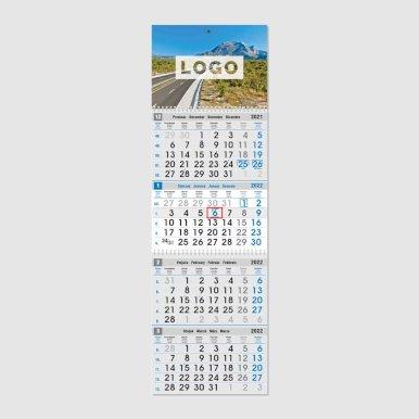 Kalendar poslovni, četverodijelni, 27,5x87cm, 12 listova, s pokazivačem, PVC vrećica, sivo-plavi