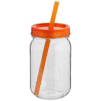 Boca za piće, BPA free, oblik staklenke, narančasti poklopac i slamka