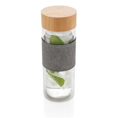Boca za vodu, staklena, borosilicate,s bambus pklopcem,360 ml