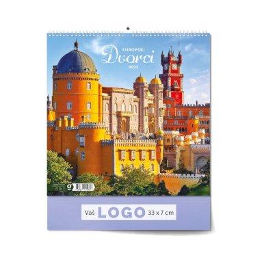 Kalendar Europski dvorci, 33x40 cm, 13 listova, PVC vrećica
