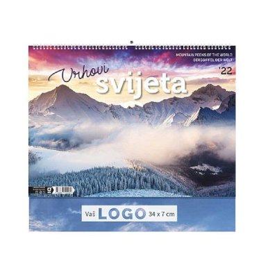 Kalendar Vrhovi svijeta, 43x37,5 cm, 13 listova, PVC vrećica